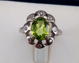 Natural Peridot with CZ Ring.