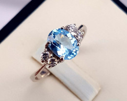 Natural Swiss Topaz Ring with Cz.