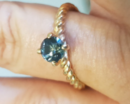 natural Australian blue sapphire gold ring