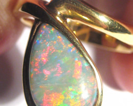 Natural Australian Opal and Solid 18K Gold Ring Size 6.75 (z2266)