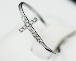 18 K White Gold Diamond Ring Size 7 - R11477 -1