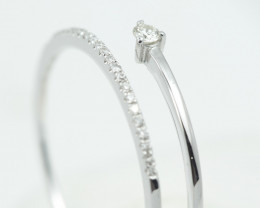 18 K White Gold Engagement Diamond Ring Size 7 - H61 - R11575