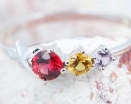 14k Gold Natural Color Sapphires & Diamond Ring Size 7 - R12339 - G105