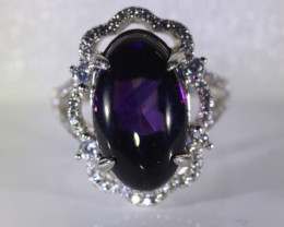 Cheep Solid Silver Ring Big Natural Amethyst Amethyst 11.90ct Platinum Fini
