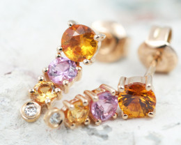 14k Rose Gold Natural Color Sapphires & Diamond Earrings - E12319 - G124