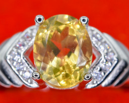16.48 Crt Natural Citrine With Cubic Zircon 925 Sterling Silver Ring AB (01