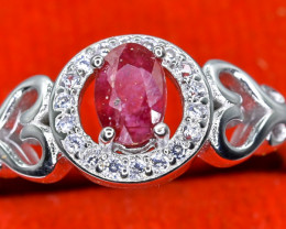 15.12 Crt Natural Ruby With Cubic Zircon 925 Sterling Silver Ring AB (01)