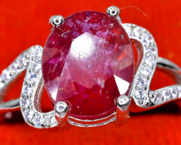 21.74 Crt Natural Ruby With Cubic Zircon 925 Sterling Silver Ring AB (01)