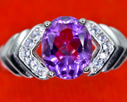 17.12 Crt Natural Amethyst With Cubic Zircon 925 Sterling Silver Ring AB (0
