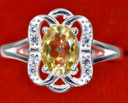 19.90 Crt Natural Citrine With Cubic Zircon 925 Sterling Silver Ring AB (01