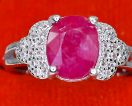 18.59 Crt Natural Ruby With Cubic Zircon 925 Sterling Silver Ring AB (01)