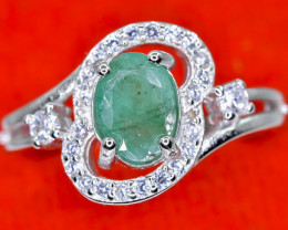 14.47 Crt Natural Emerald With Cubic Zircon 925 Sterling Silver Ring AB (01