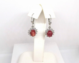 Star Ruby and White Zircon Earrings 8.50 TCW