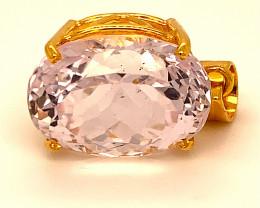 Pink Kunzite 23.80ct Solid 18K Yellow Gold Pendant