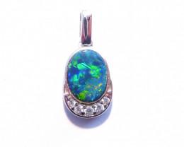 Bright Australian Gem Grade Doublet Opal and Sterling Silver Pendant (z3308