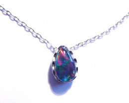 Natural Australian Triplet Opal and Sterling Silver Pendant (z3232)