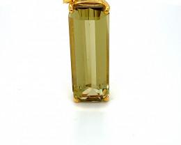 Yellow Kunzite 19.64ct Solid 18K Yellow Gold Pendant