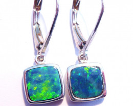 Beautiful Australian Opal and Sterling Silver Drop Earrings (z3310)