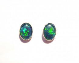Beautiful Australian Gem Opal and Sterling Silver Earrings (z3210)