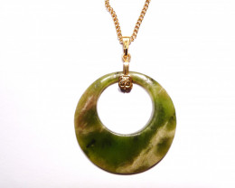 Pretty Natural Green Australian Nephrite Jade Circle Pendant - free chain (