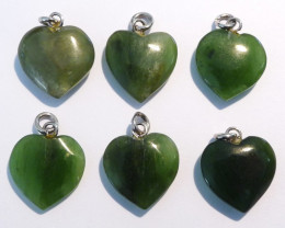 6 Natural Australian Nephrite Jade Heart Pendants (z2853)