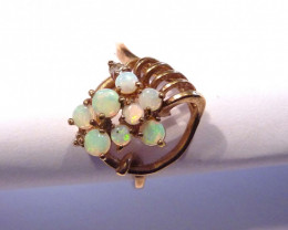 Unique Natural Australian Opal and Gold Gilt Ring Size 7 or O (z2730)