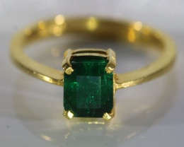 Emerald 2.03ct Solid 22K Yellow Gold Ring