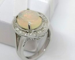 Welo Opal and Diamond Ring 3.07 TCW