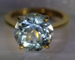 Aquamarine 7.45ct Solid 22K Yellow Gold Ring