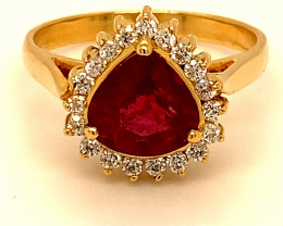 Rubellite 1.92ct Natural Diamonds Solid 18K Yellow Gold Ring