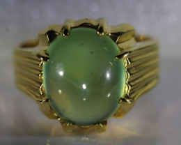 Prehnite 9.45ct Solid 18K Yellow Gold Ring