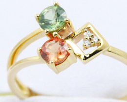 14k Gold Natural Color Sapphires & Diamond Ring Size 6.75 - R12305 -1