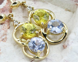 14k Gold Natural Color Sapphires & Diamond Earrings - E12327 -2