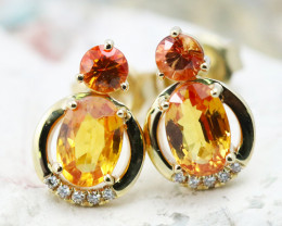 14k Gold Natural Color Sapphires & Diamond Earrings- E12341 -2