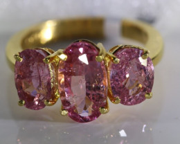 Tajikistan Spinel 6.75ct Solid 22K Yellow Gold Multistone Ring