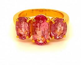 Tajikistan Spinel 6.75ct Solid 22K Yellow Gold Multistone Ring
