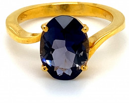 Iolite 3.01ct Solid 18K Yellow Gold Ring