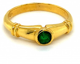 Columbian Emerald .40ct Solid 18K Yellow Gold Ring