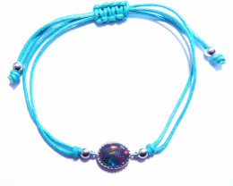 Pretty Australian Opal, Sterling Silver and Blue Cord Bracelet (z3238)