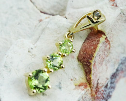 14k Yellow Gold Peridot & Diamond Pendant - P12339 - G95
