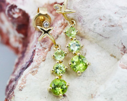 14k Yellow Gold Peridot & Diamond Earrings- E12339 - G97