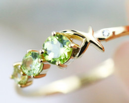 14k Yellow Gold Peridot & Diamond ring Size 6.5 - R12339 - G98