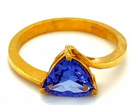 Tanzanite 1.37ct Solid 22K Yellow Gold Ring