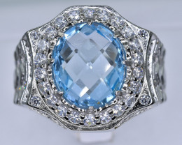 52.46 Crt Natural Topaz With Cubic Zirconia 925 Silver Ring