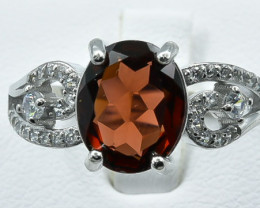 19.50 Crt Natural Garnet With Cubic Zirconia 925 Silver Ring