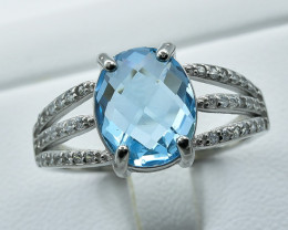 22.66 Crt Natural Topaz With Cubic Zirconia 925 Silver Ring