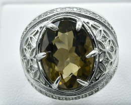 50.41 Crt Natural Smoky Quartz  With Cubic Zirconia 925 Silver Ring