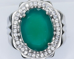 62.25 Crt Natural Agate With Cubic Zirconia 925 Silver Ring