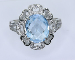 22.20 Crt Natural Topaz With Cubic Zirconia 925 Silver Ring