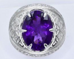 50.86 Crt Natural Amethyst With Cubic Zirconia 925 Silver Ring